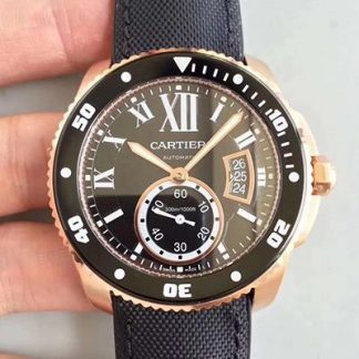JF厂卡地亚W7100052,精仿卡地亚卡利博潜水系列金色W7100052全自动机械男士手表价格_多少钱_报价-实名表业高仿手表商城