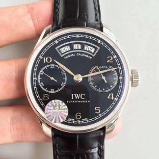 【万国IW503502】YL厂一比一高仿万国IWC 葡萄牙系列年历腕表自动腕表 黑面 IW503502 自动机械男表价格_多少钱_报价-实名表业高仿手表商城