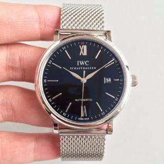 【万国IW356506】MKS厂一比一高仿万国IWC 柏涛菲诺系列 IW356506 黑面 钢带 男士自动机械手表价格_多少钱_报价-实名表业高仿手表商城