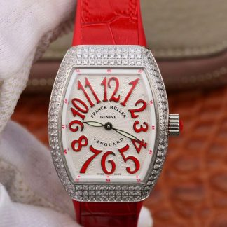 法兰克穆勒腕表高仿 高仿复刻法兰克穆勒镶钻女机械表 白面红表带价格_多少钱_报价-实名表业高仿手表商城