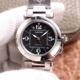 V9厂卡地亚W31076M7,高仿卡地亚帕莎系列W31076M7黑盘女表价格_多少钱_报价-实名表业高仿手表商城
