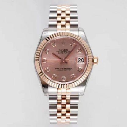 GS厂劳力士m278271,精仿劳力士日志型31系列m278271粉色表盘女表价格_多少钱_报价-实名表业高仿手表商城