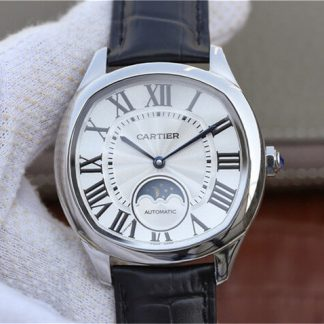 卡地亚WSNM0008,复刻卡地亚Drive De Cartier系列月相WSNM0008银盘男表价格_多少钱_报价-实名表业高仿手表商城