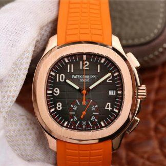 百达翡丽5968A-001,复刻百达翡丽Aquanaut系列5968A-001玫瑰金橙色胶带男表价格_多少钱_报价-实名表业高仿手表商城
